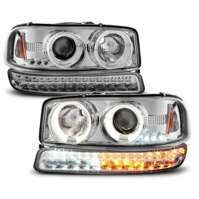 GMC Sierra 1999-2006  Halo Projector Headlights and LED Bumper Lights Chrome