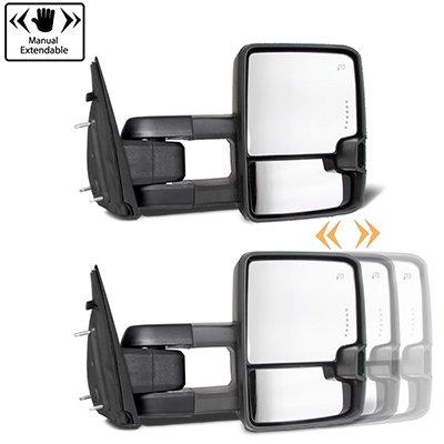 Dodge Ram 1500 2009-2018 White Tow Mirrors Smoked LED Lights Power Heated
