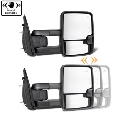 Dodge Ram 1500 2009-2018 Glossy Black Tow Mirrors Smoked LED Lights Power Heated