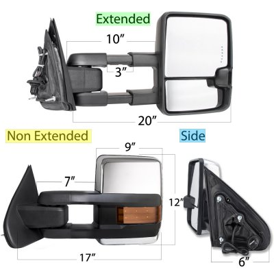 Chevy Silverado 2500HD 2015-2019 Chrome Power Folding Towing Mirrors LED Lights Heated