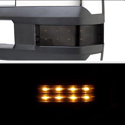GMC Sierra 2014-2018 Chrome Power Folding Towing Mirrors Smoked LED Lights Heated