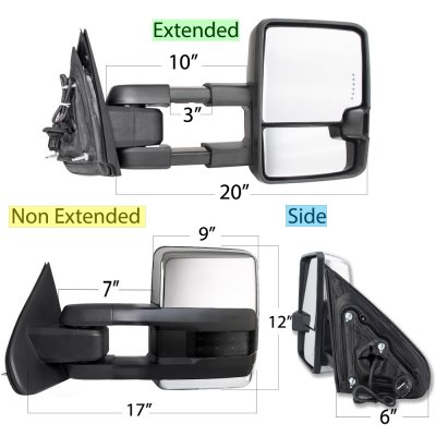 Chevy Silverado 2500HD Diesel 2015-2019 Chrome Power Folding Towing Mirrors Smoked LED Lights Heated