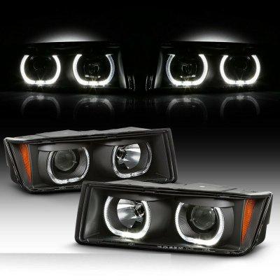 Chevy Avalanche 2002-2006 Body Cladding Black Halo Projector Headlights