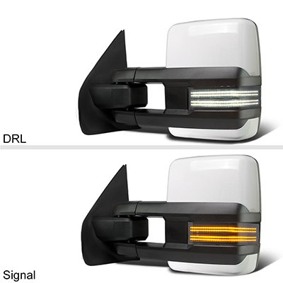 Dodge Ram 1500 2009-2018 White Tow Mirrors Smoked Switchback LED DRL Sequential Signal