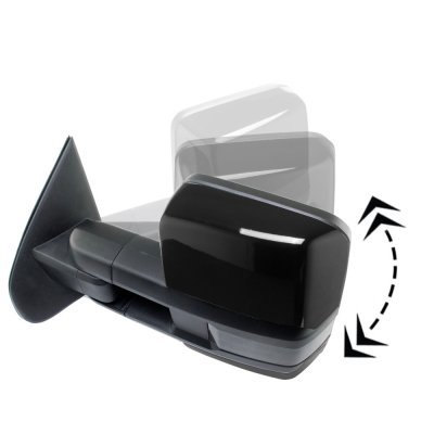 GMC Sierra 2014-2018 Glossy Black Power Folding Towing Mirrors Smoked LED Lights Heated