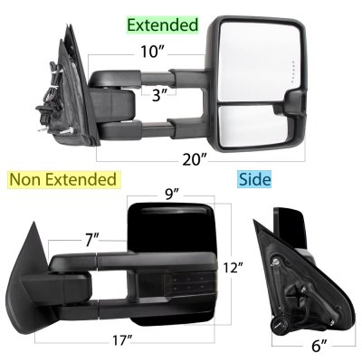 GMC Sierra 2014-2018 Glossy Black Power Folding Towing Mirrors Smoked LED Lights Heated