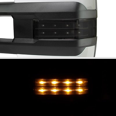 Chevy Silverado 2500HD 2015-2019 White Power Folding Towing Mirrors Smoked LED Lights Heated
