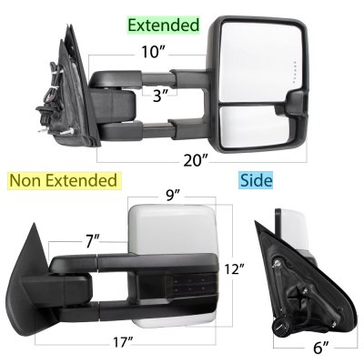 Chevy Silverado 2014-2018 White Power Folding Towing Mirrors Smoked LED Lights Heated
