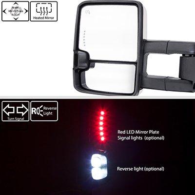 Dodge Ram 1500 2009-2018 White Tow Mirrors Smoked LED DRL Power Heated