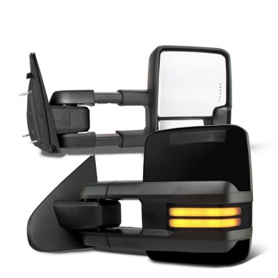 Dodge Ram 1500 2009-2018 Glossy Black Tow Mirrors Smoked LED DRL Power Heated