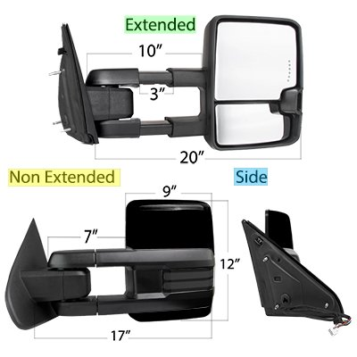 Dodge Ram 1500 2009-2018 Glossy Black Tow Mirrors Smoked LED DRL Power Heated