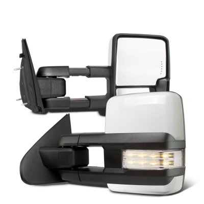 Dodge Ram 1500 2009-2018 White Tow Mirrors Clear LED Lights Power Heated