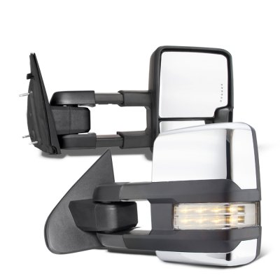 Dodge Ram 1500 2009-2018 Chrome Tow Mirrors Clear LED Lights Power Heated