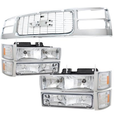 GMC Sierra 3500 1988-1993 Chrome Grille and Headlights Conversion