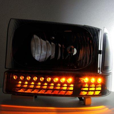 Ford F250 1999-2004 Black Headlights LED Bumper Lights