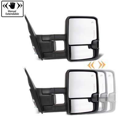 Toyota Tundra 2007-2020 Chrome Power Folding Tow Mirrors Smoked Switchback LED DRL Sequential Signal
