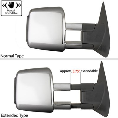 Toyota Tundra 2007-2021 Chrome Power Folding Tow Mirrors Smoked LED
