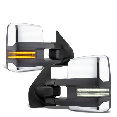 Ford F250 Super Duty 2008-2016 Chrome Tow Mirrors Smoked Switchback LED DRL Sequential Signal