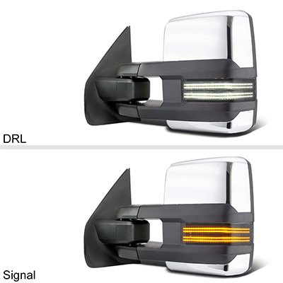 Ford F250 Super Duty 1999-2007 Chrome Tow Mirrors Smoked Switchback LED DRL Sequential Signal