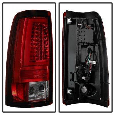 Chevy Silverado 2500HD 1999-2002 Red Smoked LED Tail Lights Tube