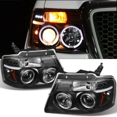 Ford F150 2004-2008 Black Halo Projector Headlights with LED