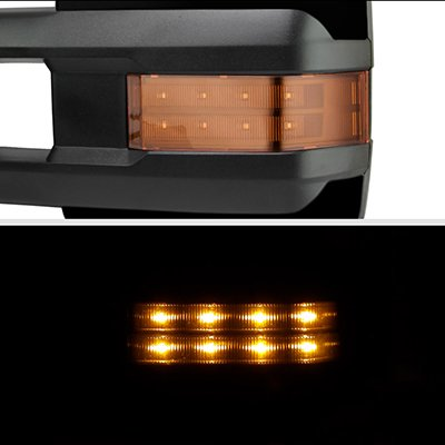 Chevy Suburban 2003-2006 Glossy Black Towing Mirrors LED Lights Power Heated