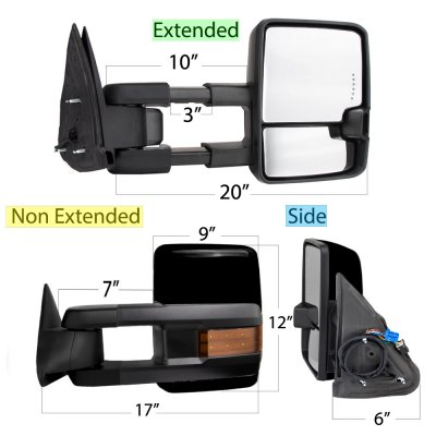 Chevy Silverado 2500HD 2003-2006 Glossy Black Towing Mirrors LED Lights Power Heated
