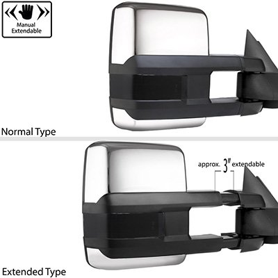 Chevy Silverado 1988-1998 Chrome Tow Mirrors Smoked Switchback LED DRL Sequential Signal