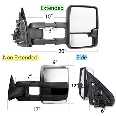 Chevy 2500 Pickup 1988-1998 Chrome Tow Mirrors Smoked Switchback LED DRL Sequential Signal