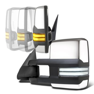 GMC Sierra 2500 1999-2002 Chrome Power Folding Tow Mirrors Smoked Switchback LED DRL Sequential Signal
