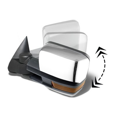 Chevy Silverado 2003-2006 Chrome Power Folding Towing Mirrors LED Lights