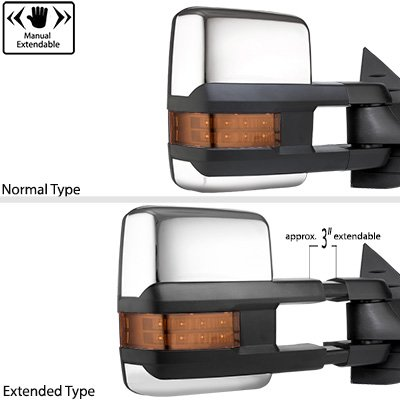 Chevy Silverado 2500 1999-2002 Chrome Power Folding Towing Mirrors LED Lights