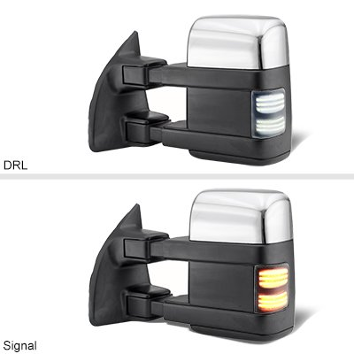 Ford F250 Super Duty 2008-2016 Chrome Tow Mirrors Smoked Switchback LED Sequential Signal
