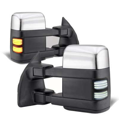 Ford F250 Super Duty 2003-2007 Chrome Tow Mirrors Smoked Switchback LED Sequential Signal