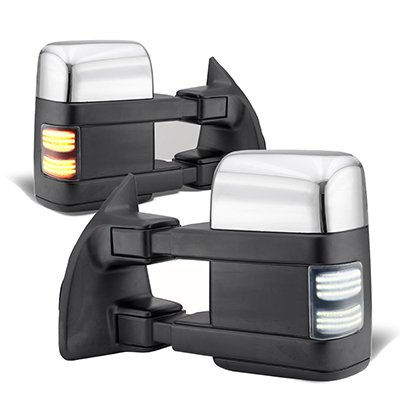 Ford F250 Super Duty 2003-2007 Chrome Tow Mirrors Switchback LED Sequential Signal