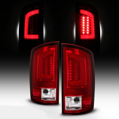 Dodge Ram 2002-2006 Red and Clear LED Tail Lights Tube
