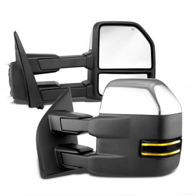 Ford F150 2015-2020 Chrome Towing Mirrors Power Heated Smoked LED Signal Puddle Lights
