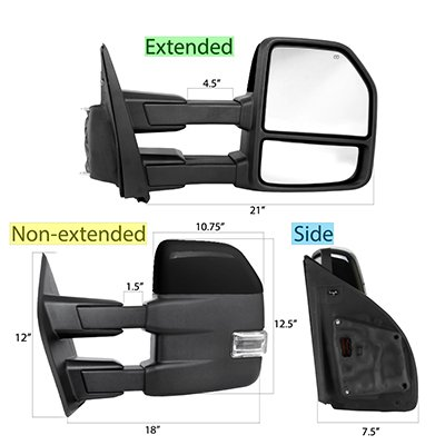 Ford F150 2015-2020 Glossy Black Towing Mirrors Power Heated LED Signal Puddle Lights