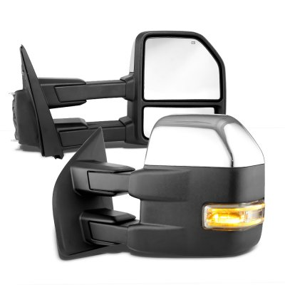 Ford F150 2004-2008 New Chrome Towing Mirrors Power Heated LED Signal Puddle Lights