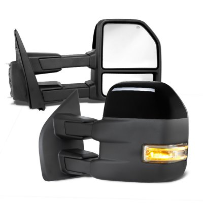 Ford F150 2009-2014 New Glossy Black Towing Mirrors Power Heated LED Signal Puddle Lights