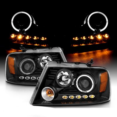 Ford F150 2004-2008 Black Projector Headlights with Halo and LED