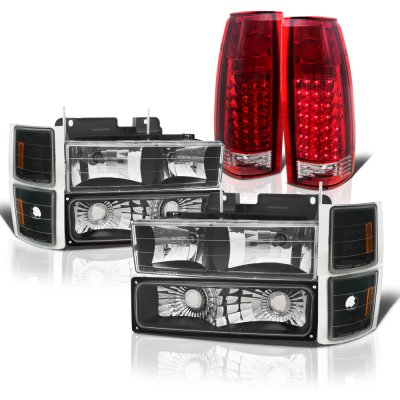 Chevy 2500 Pickup 1994-1998 Black Headlights and LED Tail Lights Red Clear