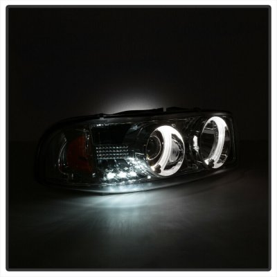 GMC Sierra 1999-2006 Clear Dual Halo Projector Headlights with LED
