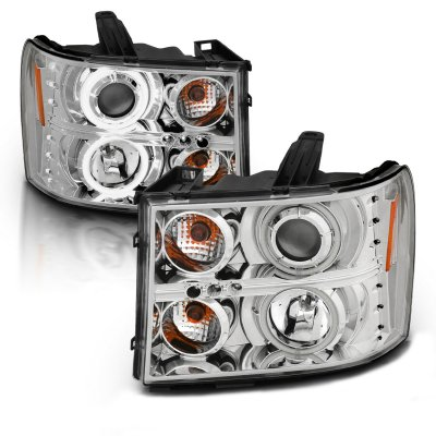 GMC Sierra 2007-2013 Clear Projector Headlights with CCFL Halo and LED