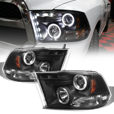 Dodge Ram 2009-2016 Black Halo Projector Headlights with LED DRL