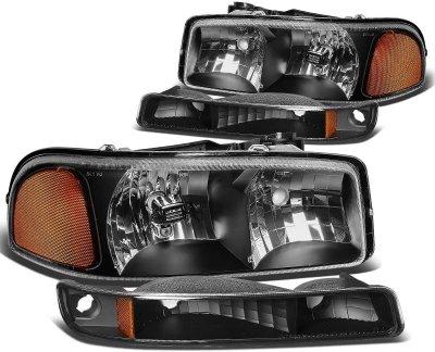 GMC Sierra 2500HD 2001-2006 Black Headlights and Bumper Lights