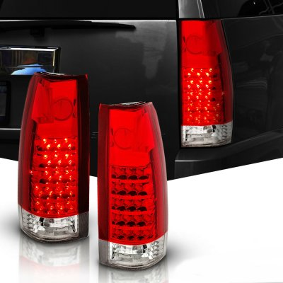 GMC Sierra 1988-1998 Red and Clear LED Tail Lights