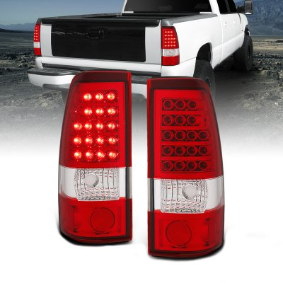Chevy Silverado 1999-2002 LED Tail Lights Red and Clear