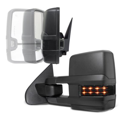 GMC Sierra 2007-2013 Power Folding Tow Mirrors Smoked LED Lights