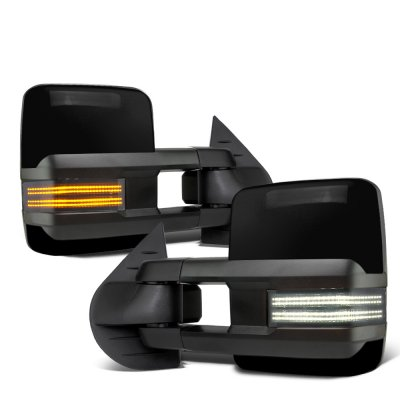 Chevy Silverado 2500HD 2007-2014 Glossy Black Tow Mirrors Smoked Switchback LED DRL Sequential Signal